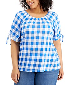 Plus Size Gingham On/Off-The-Shoulder Top, Created for Macy's