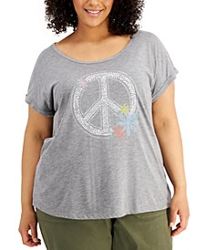 Plus Size Graphic Print Scoop Neck T-Shirt, Created for Macy's