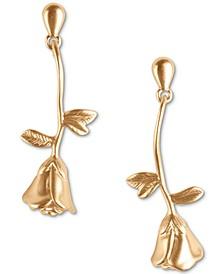 Gold-Tone Rose Linear Drop Earrings