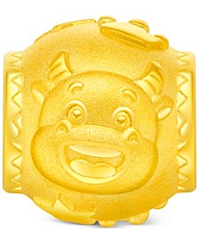 Year of the Ox Barrel Charm Pendant in 24k Gold