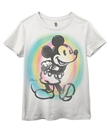 Women's Cotton Mickey-Mouse Spray-Paint Graphic T-Shirt