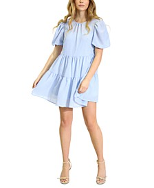 Puff-Sleeve Ruffle-Hem Babydoll Dress