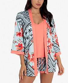 Printed Wrap Robe, Cami & Shorts Set