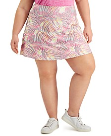 Plus Size Tropical-Print Tiered Skort, Created for Macy's