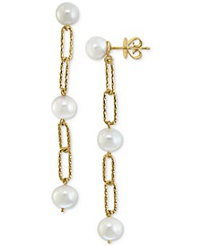 EFFY® Cultured Freshwater Pearl (7mm) Large Paperclip Link Drop Earrings in 18k Gold-Plated Sterling Silver