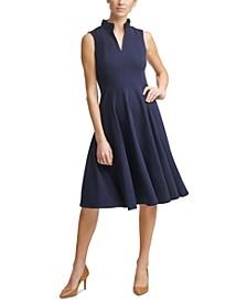 Ruffle-Neck Fit & Flare Dress