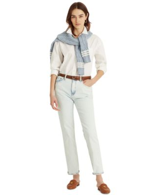 로렌 랄프로렌 Lauren Ralph Lauren High-Rise Ankle Jeans,Homestead Wash