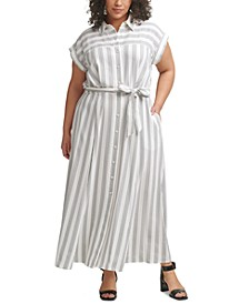 Plus Size Striped Gauze Shirtdress