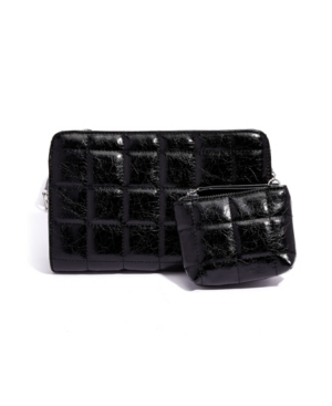 Cracked Vegan Leather Quilted Crossbody