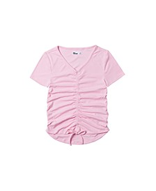 Big Girls Short Sleeve Solid Ruched Front Top