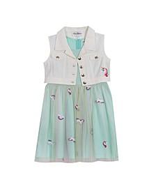 Toddler Girls Embroidered Mesh Dress with Denim Vest