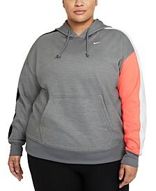 Plus Size Women's Colorblocked Pullover Training Hooded Sweatshirt