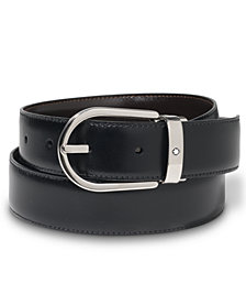 Montblanc Palladium-Finish Pin Buckle Reversible Leather Belt 38157