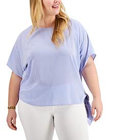 Plus Size Side-Tie Striped Shirt