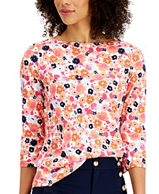 Petite Cotton Floral-Print Top, Created for Macy's