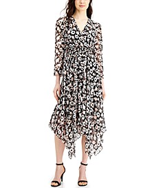 Printed Handkerchief-Hem Midi Dress