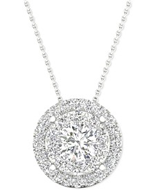 """Diamond Double Halo Pendant Necklace (1 ct. t.w.) in 14k White Gold, 16"""" + 2"""" extender"""