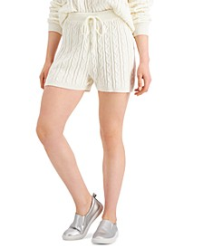 Juniors' Cable-Knit Sweater Shorts