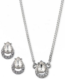 """2-Pc. Set Crystal Earrings & Pendant Necklace, 16"""" + 3"""" extender"""