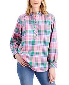Cotton Plaid Band-Collar Tunic