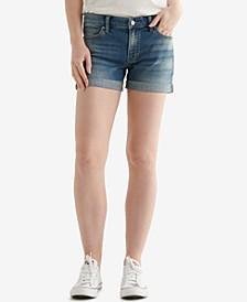 Ava Cuffed-Hem Denim Shorts