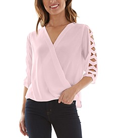 Juniors' Lattice-Sleeve Surplice Top