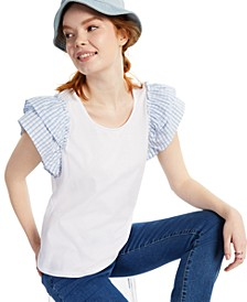 Petite Short-Sleeve Ruffled Top, Created for Macy's