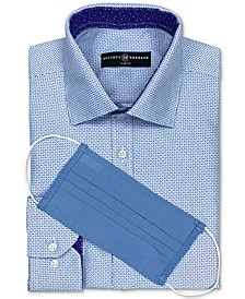 Men's Slim-Fit Non-Iron Performance Geo-Print Dress Shirt with Pleated Face Mask