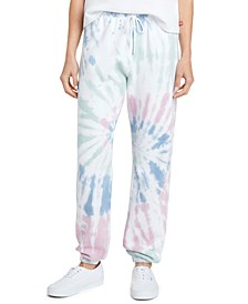 Juniors' Tie-Dyed Logo Graphic Sweatpants