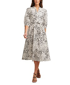 Ditsy-Print Belted Dress
