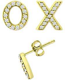 Cubic Zirconia X & O Mismatch Stud Earrings, Created for Macy's
