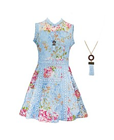 Big Girls Print Lace Victorian Dress with Necklace