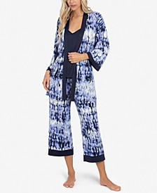 Tie-Dye Robe, Cami & Capri 3pc Loungewear Set