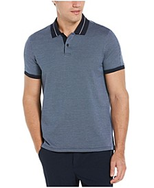 Men's Jacquard Tipped Collar Short Sleeve Polo Shirt