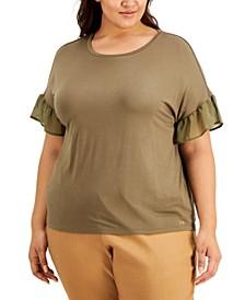 Plus Size Ruffle Sleeve Top