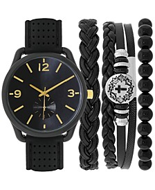 INC Men's Black Silicone Strap Watch 40mm & Bracelet Set, Created for Macy's