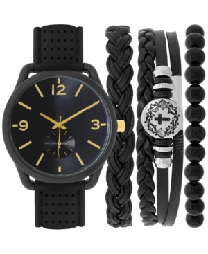 INC INTERNATIONAL CONCEPTS INC MEN'S BLACK SILICONE STRAP WATCH 40MM & BRACELET SET, CREATED FOR MACY'S