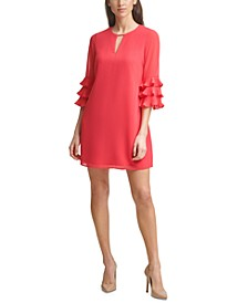 Ruffle-Sleeve Chiffon Shift Dress