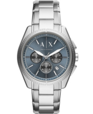 Ax Men's Chronograph Silver-Tone Stainless Steel Bracelet Watch 42mm