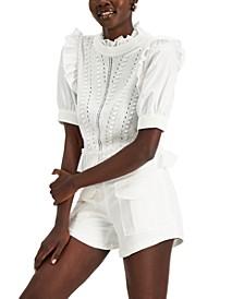 INC Short-Sleeve Ruffle Sweater, Created for Macy's