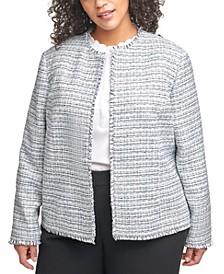 Plus Size Tweed Open-Front Blazer