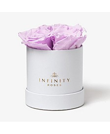 Round Box of 4 Lavender Real Roses Preserved To Last Over A Year