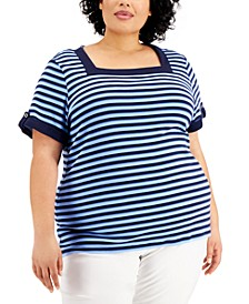 Plus Size Cotton Striped Square-Neck Top, Created for Macy's