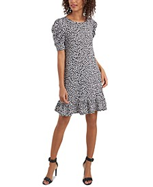 Puff-Sleeve Flounce Shift Dress