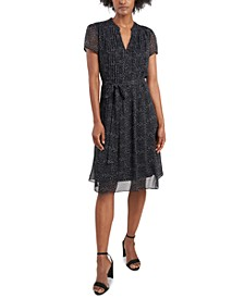 Printed Pintucked Fit & Flare Dress