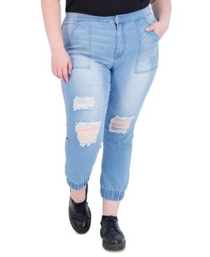 Trendy Plus Size Destructed Jean Joggers