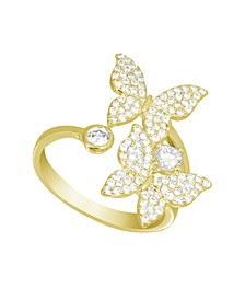 Cubic Zirconia Butterfly Bypass Ring in Gold Plate