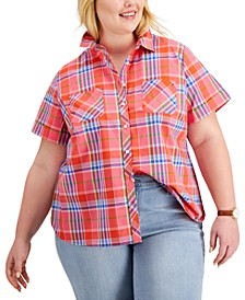 Plus Size Cotton Plaid Camp Shirt, Created for Macy's