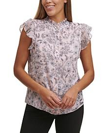 Floral-Print Flutter-Sleeve Blouse