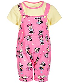 Baby Girls 2-Pc. Minnie Mouse Shortall & T-Shirt Set